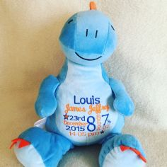 Personalised Soft Toy Animal Cubbie Blue Dinosaur
